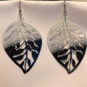 Black and white metal leaf earrings